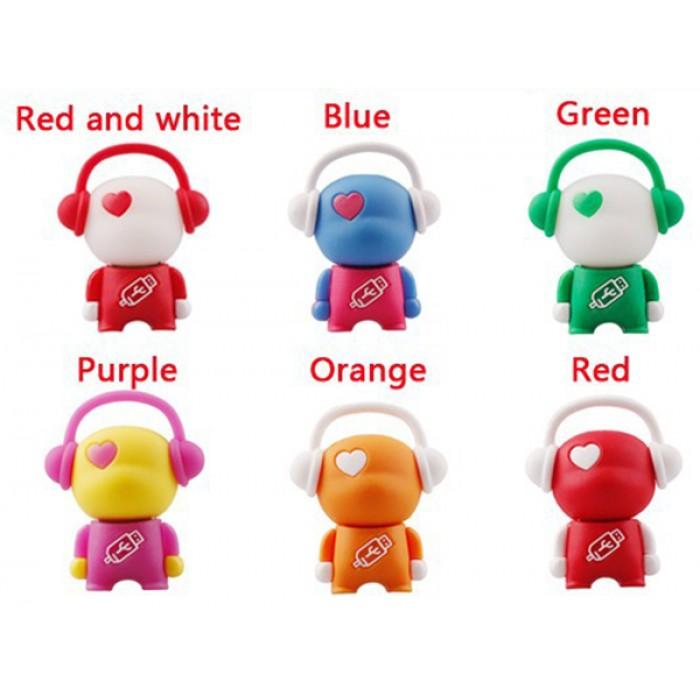 Флешка USB 8Gb ElectroCom Music Man (Музыкальный человечек, Красно-Белый / Синий / Зеленый / Розовый / Оранжевый / Красный)